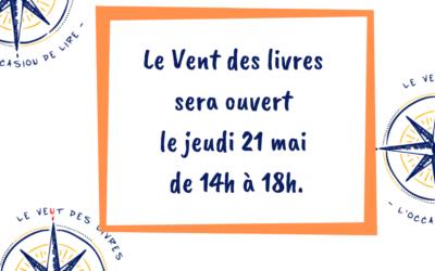 Bouquinerie est ouverte le 21/05/2020