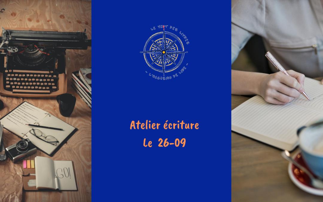 Atelier écriture le 26/09/2020  à 14h30