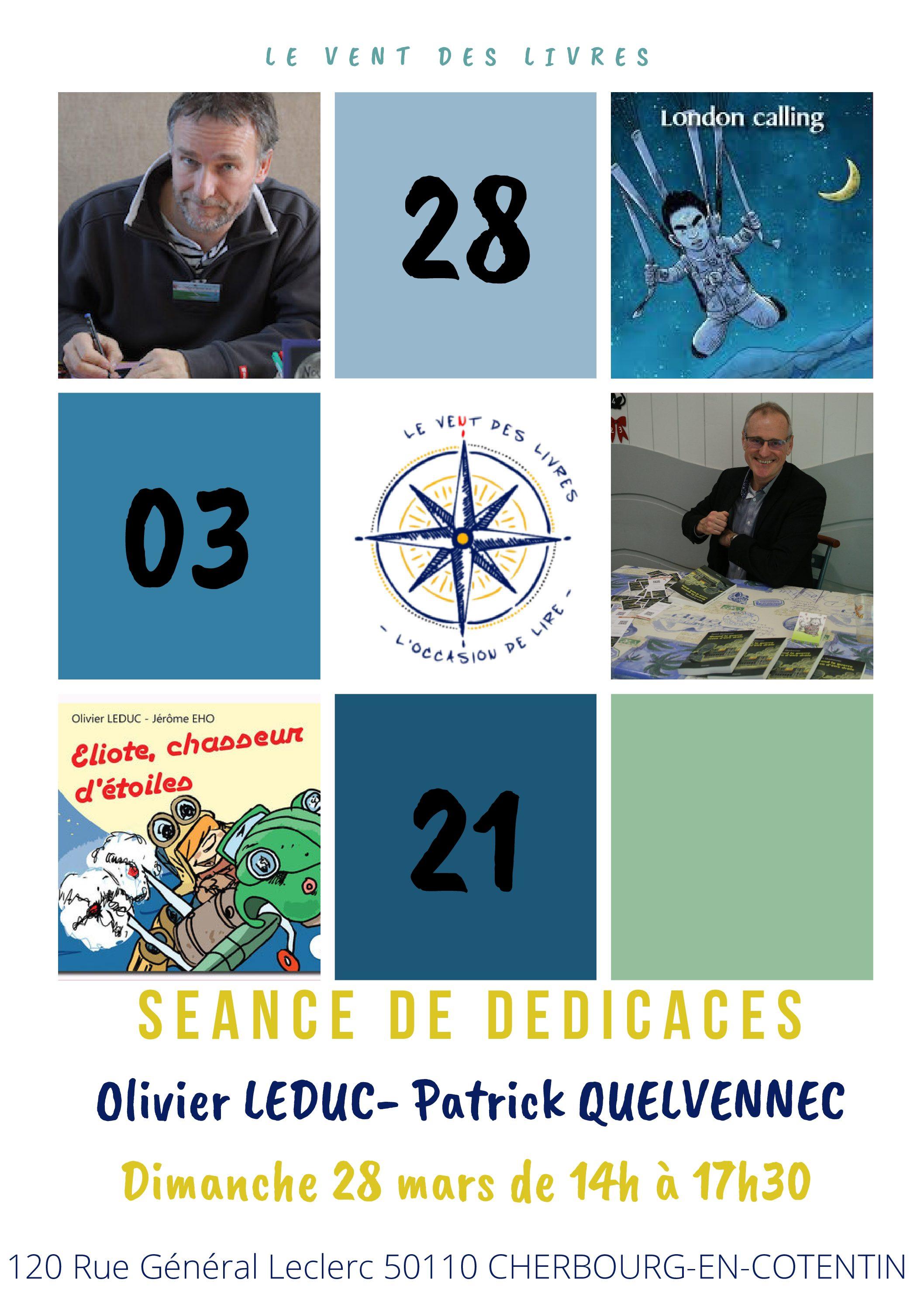 Séance de dédicaces de Olivier Leduc et Patrick Quelvennec le 28/03/2021