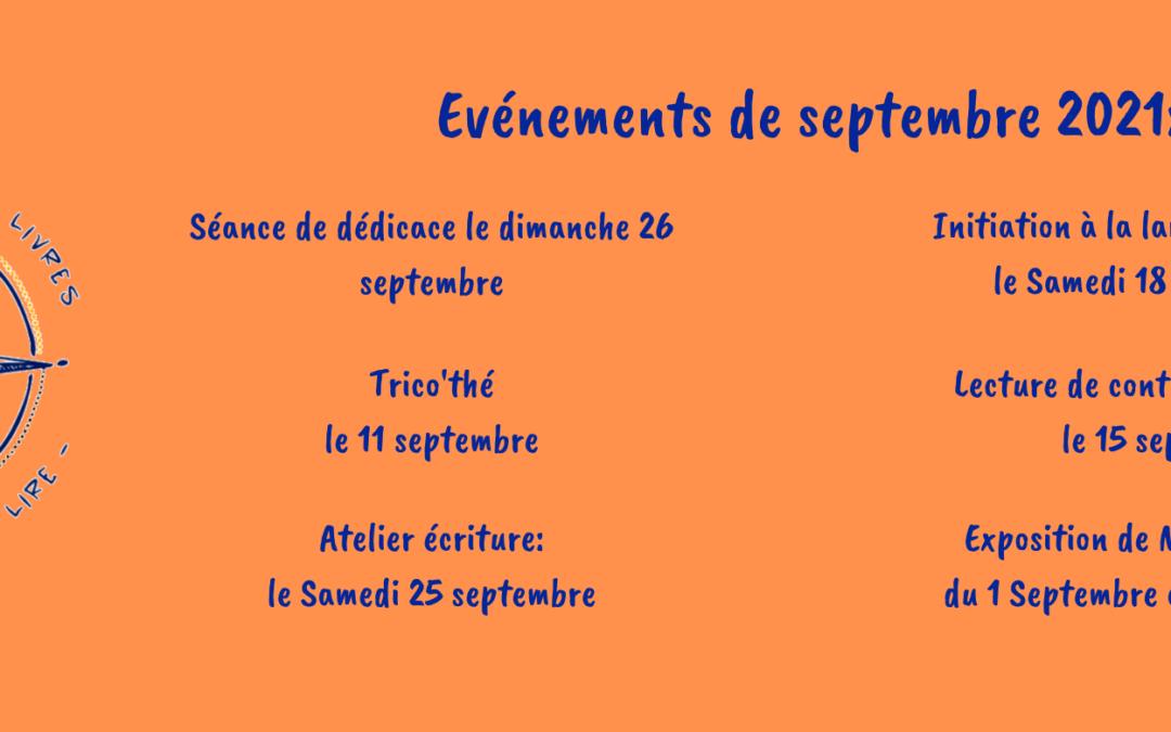 Programme des animations pour le mois de septembre