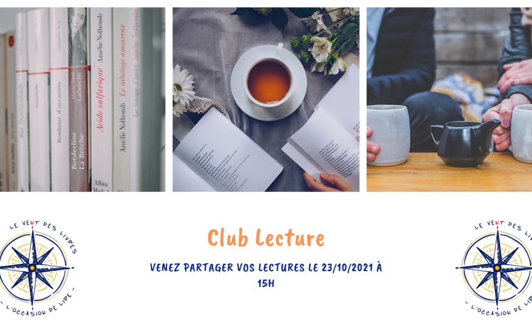 Club Lecture du samedi 23/10